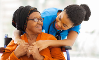caregiver and a old woman